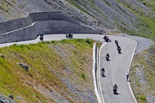 motorcyclists on mountain roads